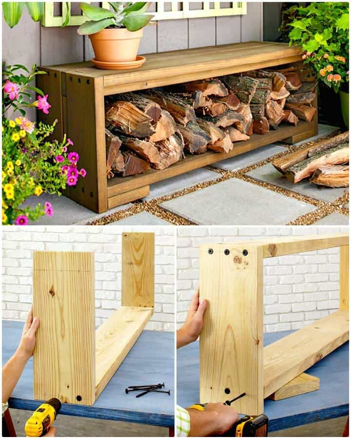 Banco de bricolaje fácil con almacenamiento de leña