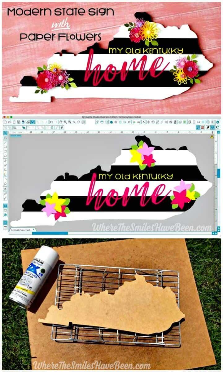 Cartel de estado de bricolaje moderno con flores de papel