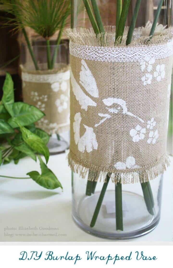 Florero envuelto en arpillera de bricolaje
