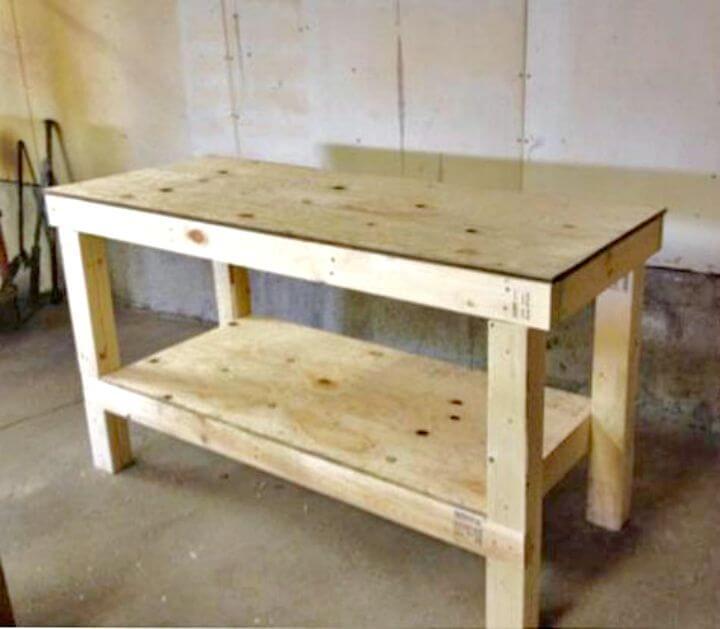 Banco de trabajo de taller de garaje fácil de bricolaje