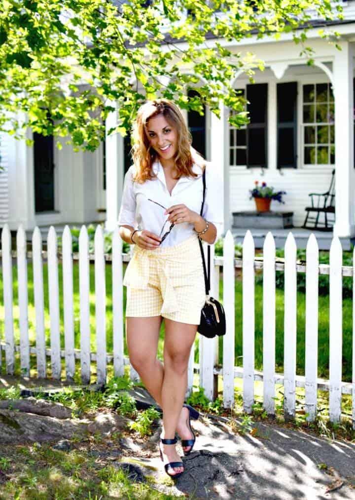 Pantalones cortos con faja de cuadros vichy fáciles de hacer