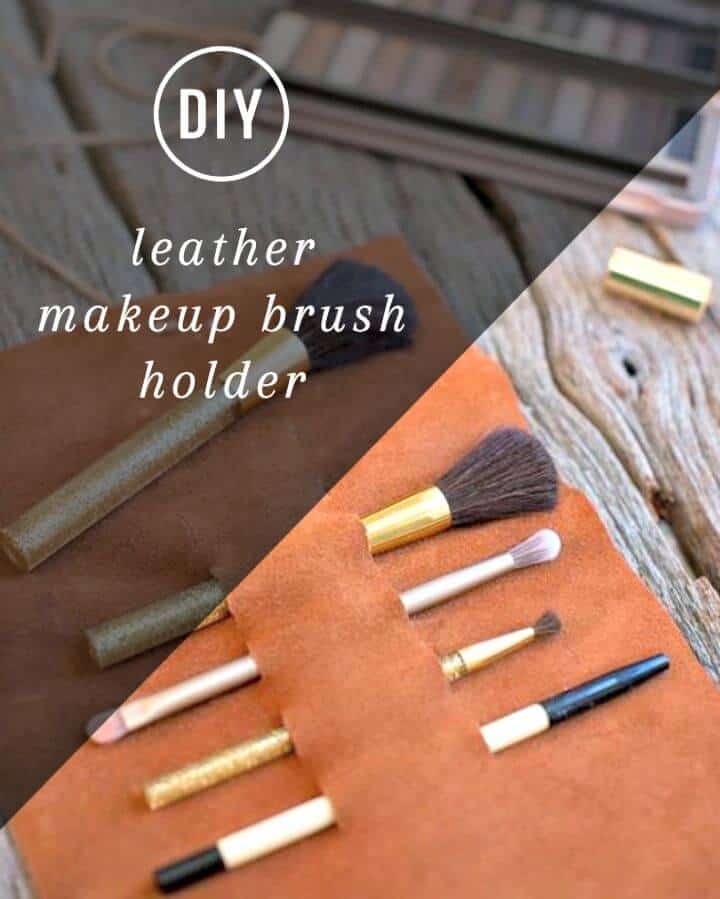 Porta brochas de maquillaje de cuero fácil de hacer