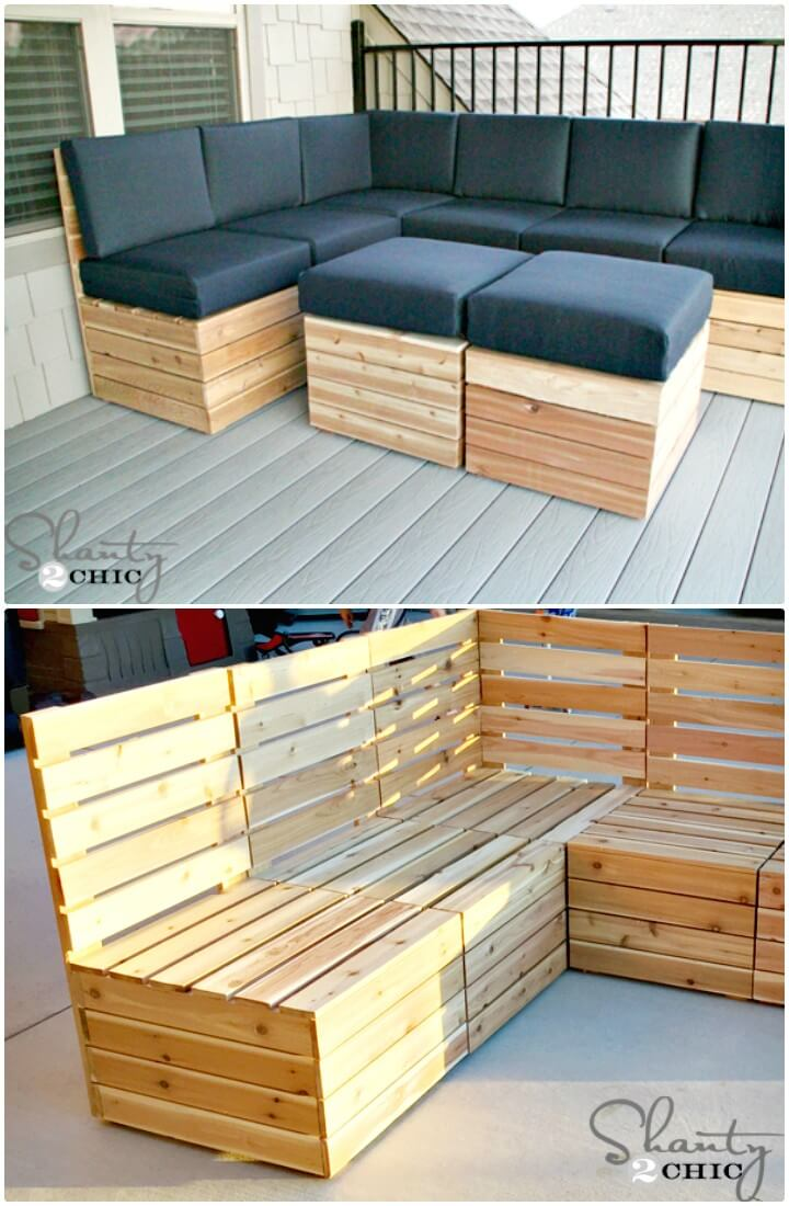 Asientos al aire libre modulares fáciles de hacer para su jardín