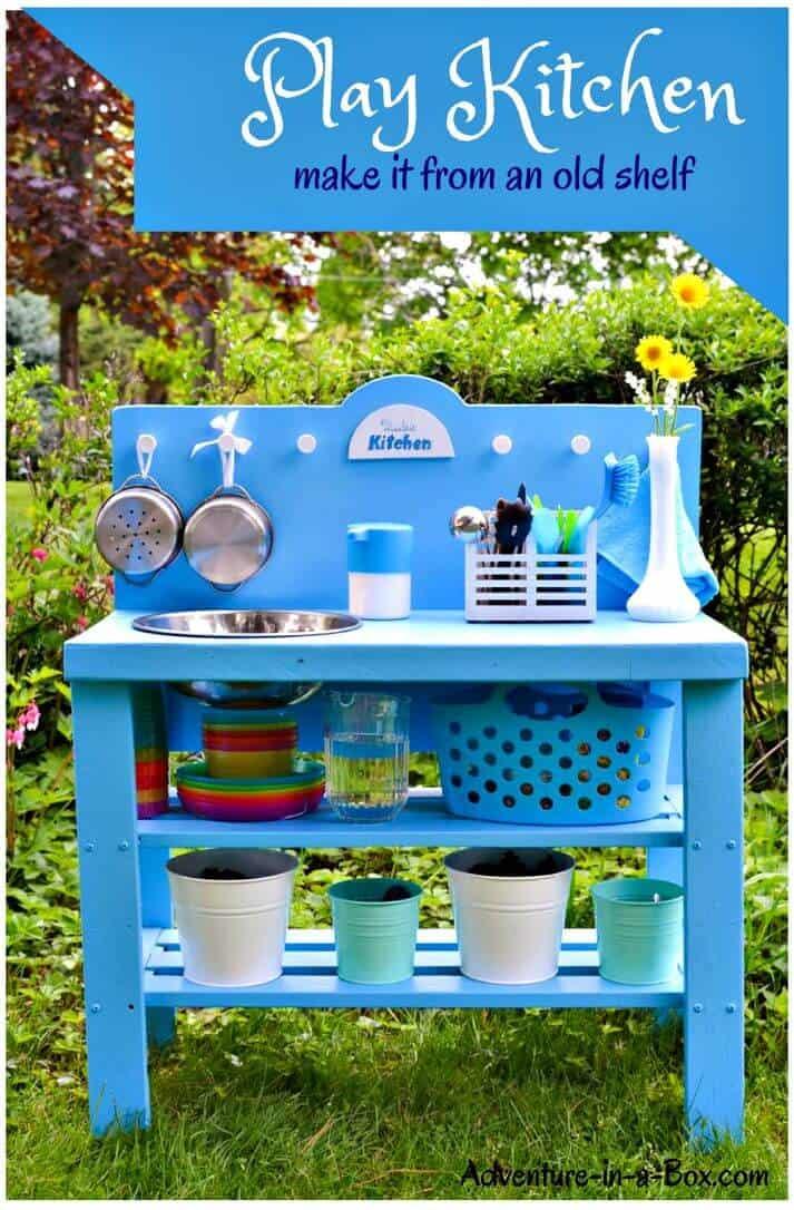 Cocina fácil de jugar al aire libre de bricolaje desde un estante viejo