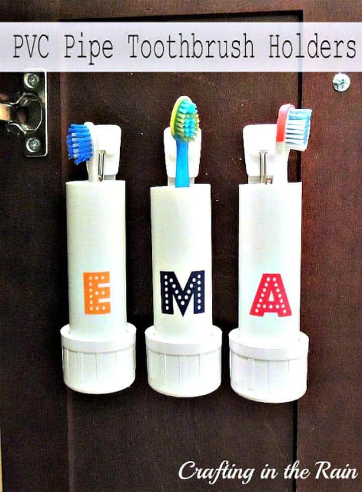Soportes de cepillo de dientes de tubo de PVC fáciles de bricolaje