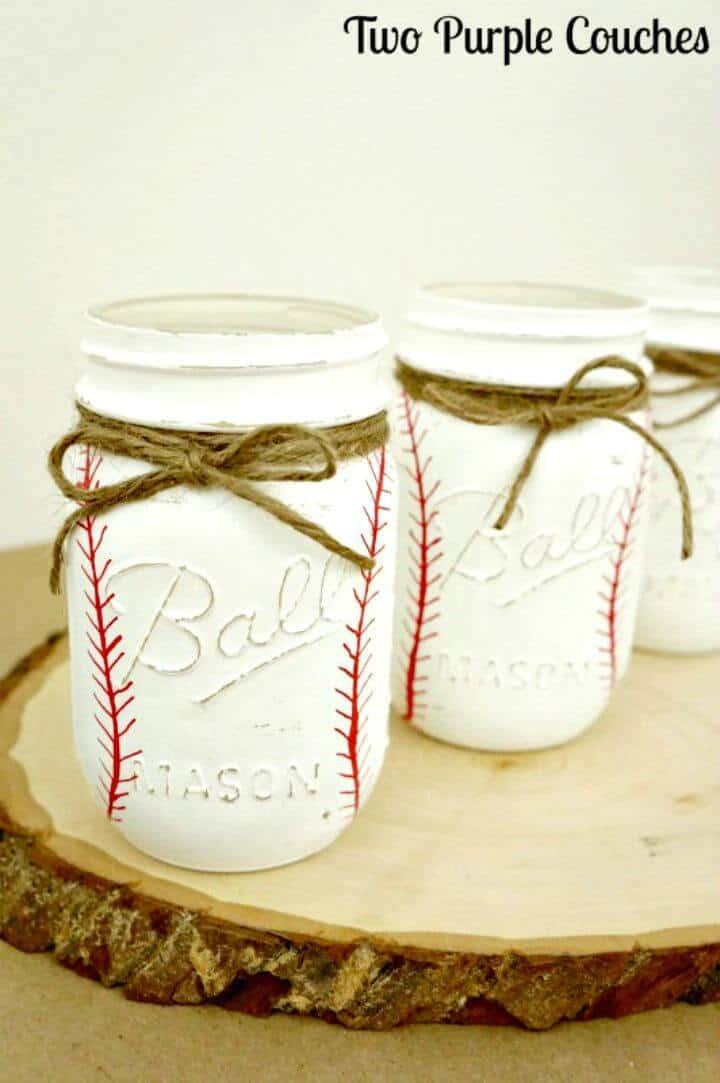 Cómo hacer tarros de albañil de béisbol pintados - DIY