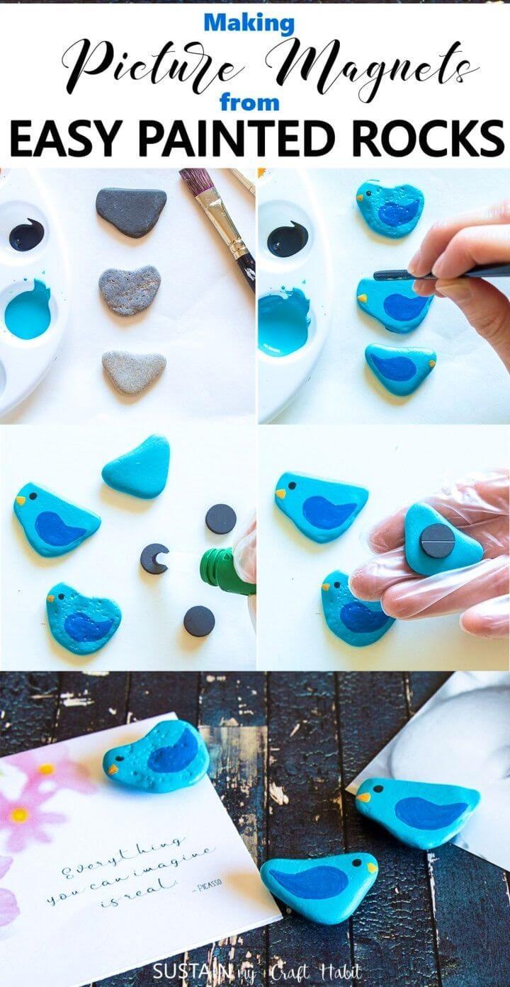 Imanes fáciles de pintar con piedras pintadas con bricolaje, ideas sencillas para pintar rocas