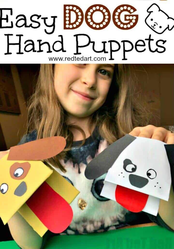 Marioneta de mano de perro de papel de bricolaje para que jueguen los niños