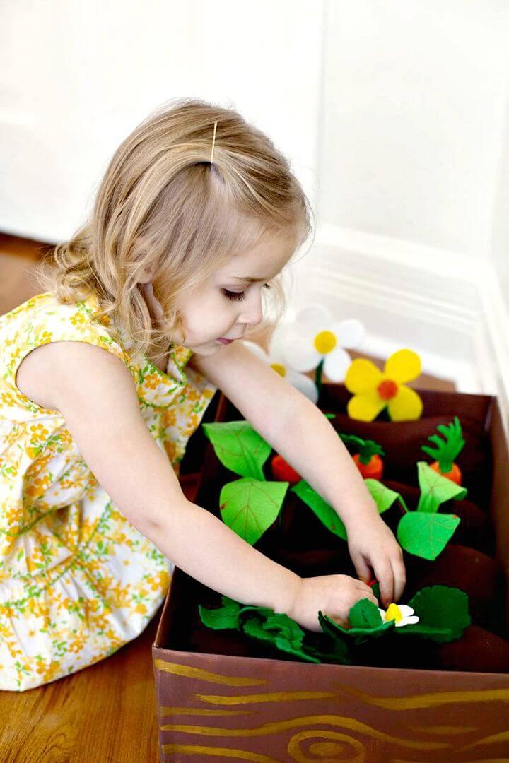 Hacer caja de jardín de fieltro plantable para niños