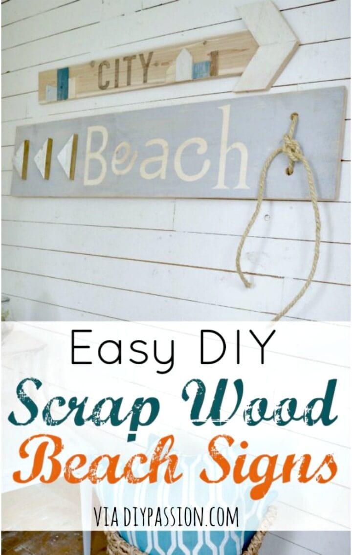Cartel de playa de madera de desecho fácil de bricolaje para el verano