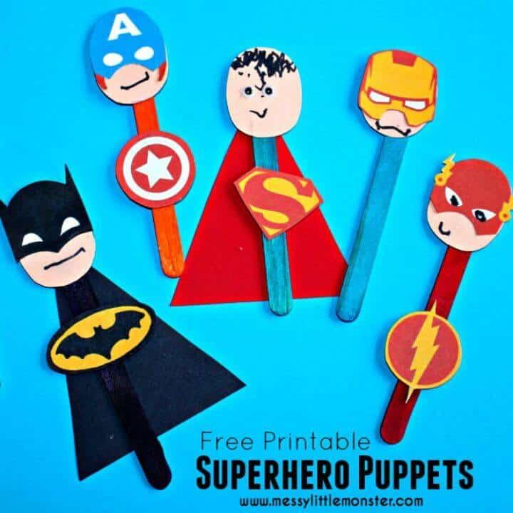 Artesanía colorida de marionetas de superhéroe DIY