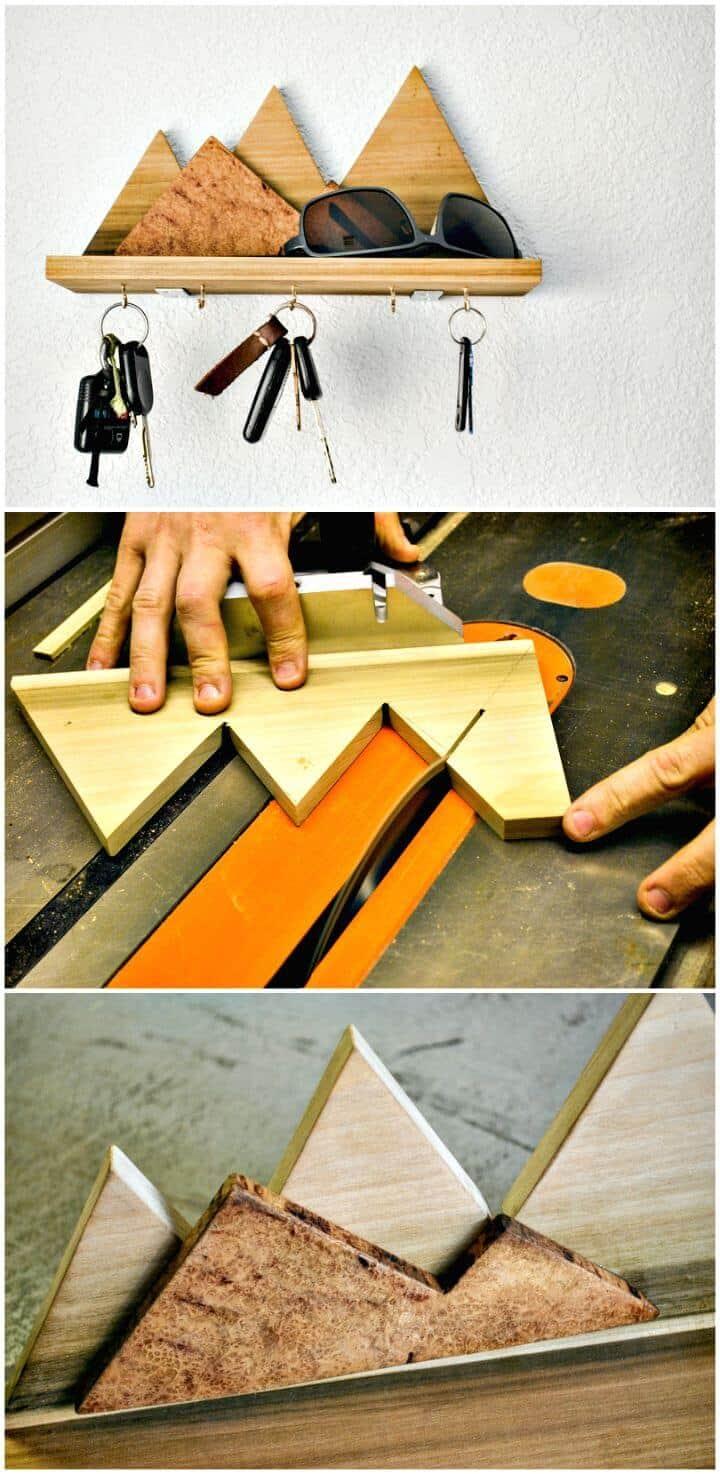 Tutorial de cómo hacer un estante de llaves de montaña de madera