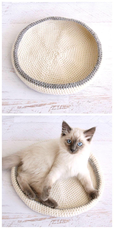 Patrón de cama de gato de ganchillo fácil y gratuito