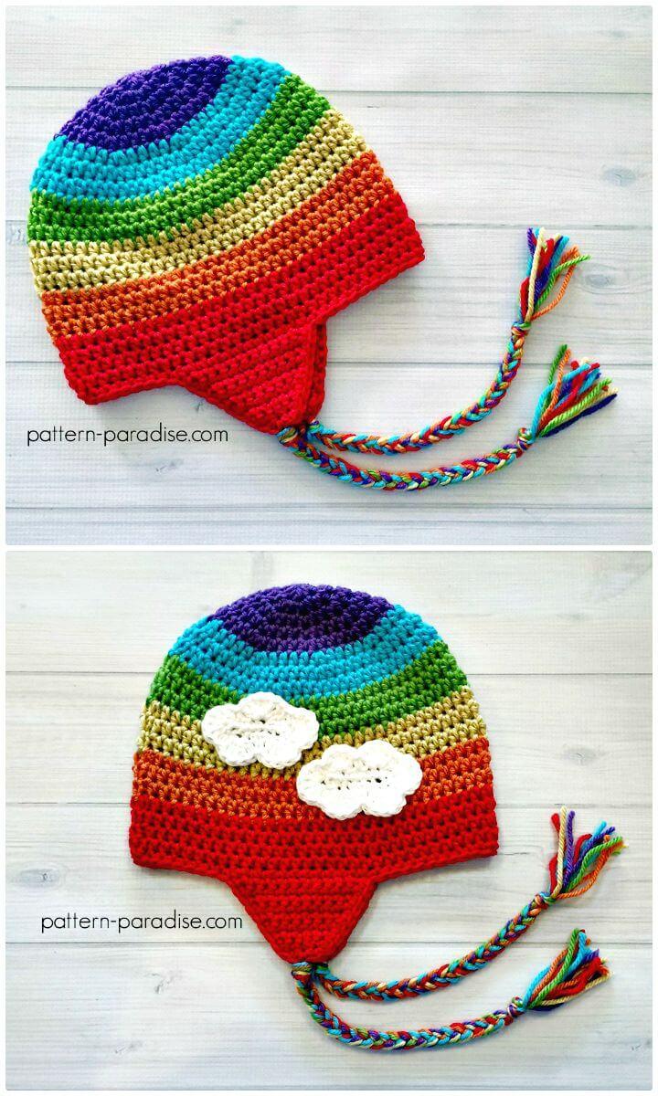 Patrón de sombrero con orejeras de ganchillo fácil y gratuito
