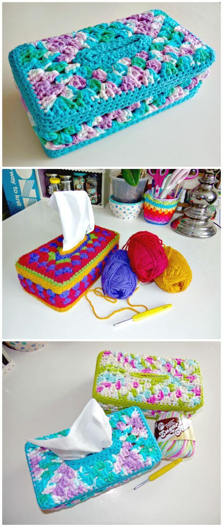 Patrón de cubierta de caja de pañuelos de panel abuelita de ganchillo fácil y gratuito