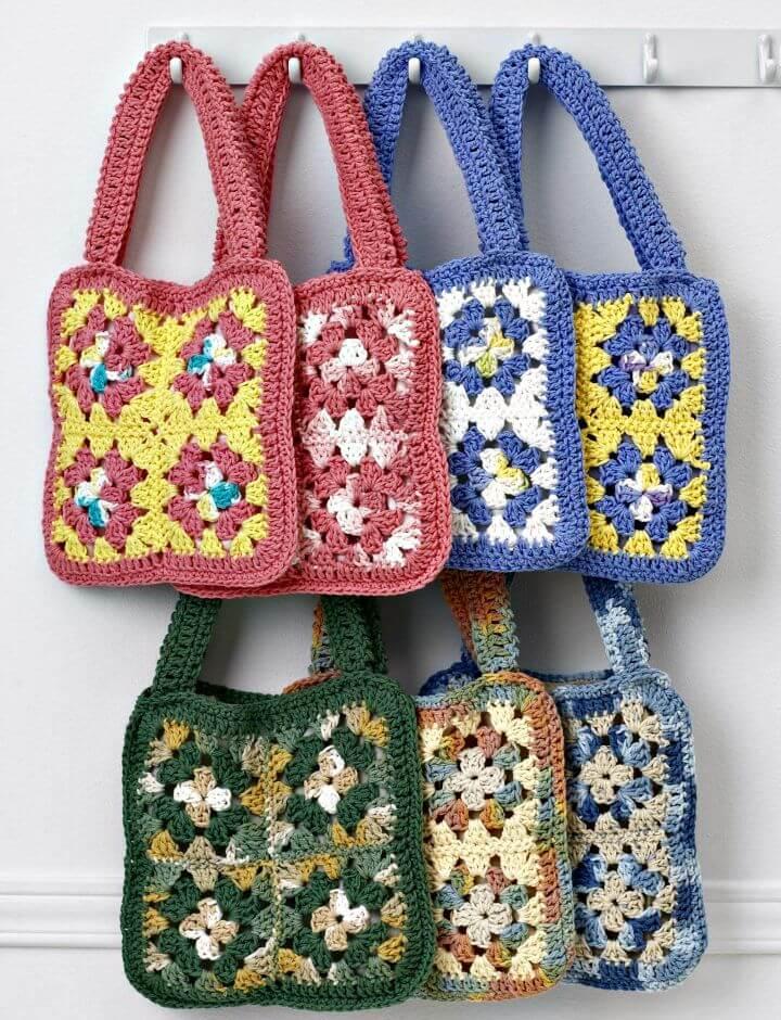 Cómo Crochet Bolsos Cuadrados Granny - Patrón Sin Bolsos Para Mujer