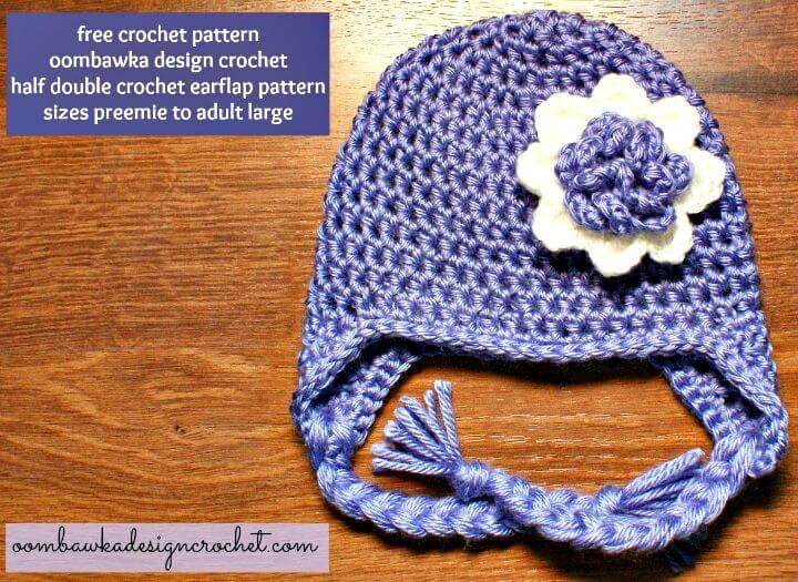 Cómo liberar el patrón de sombrero de ganchillo con media orejera doble fácil