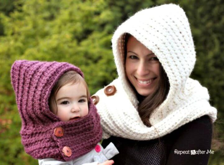 Cómo hacer un patrón de bufanda con capucha de ganchillo gratis fácil