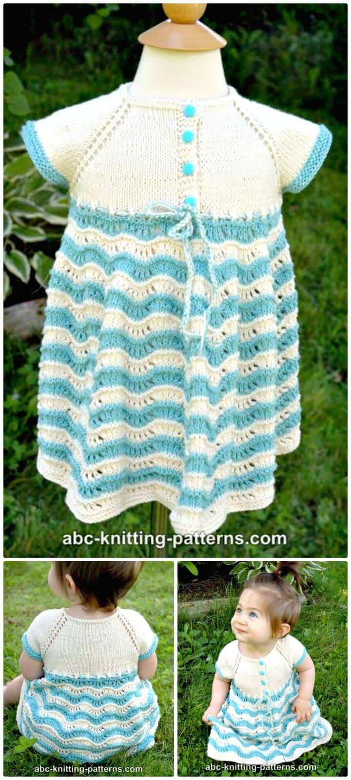 Patrón de vestido de bebé de tejer gratis fácil