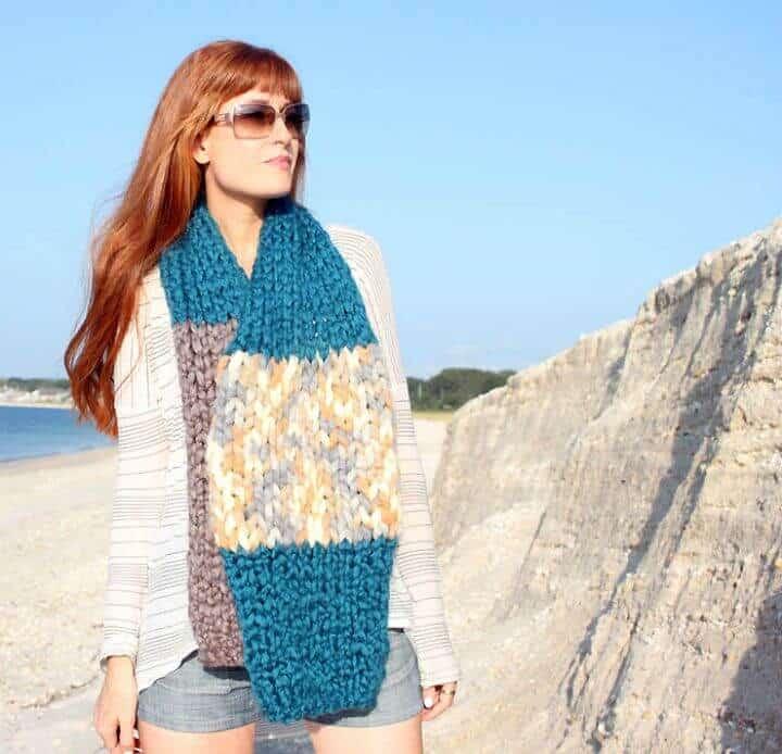Tejer patrón de bufanda de rayas gigantes