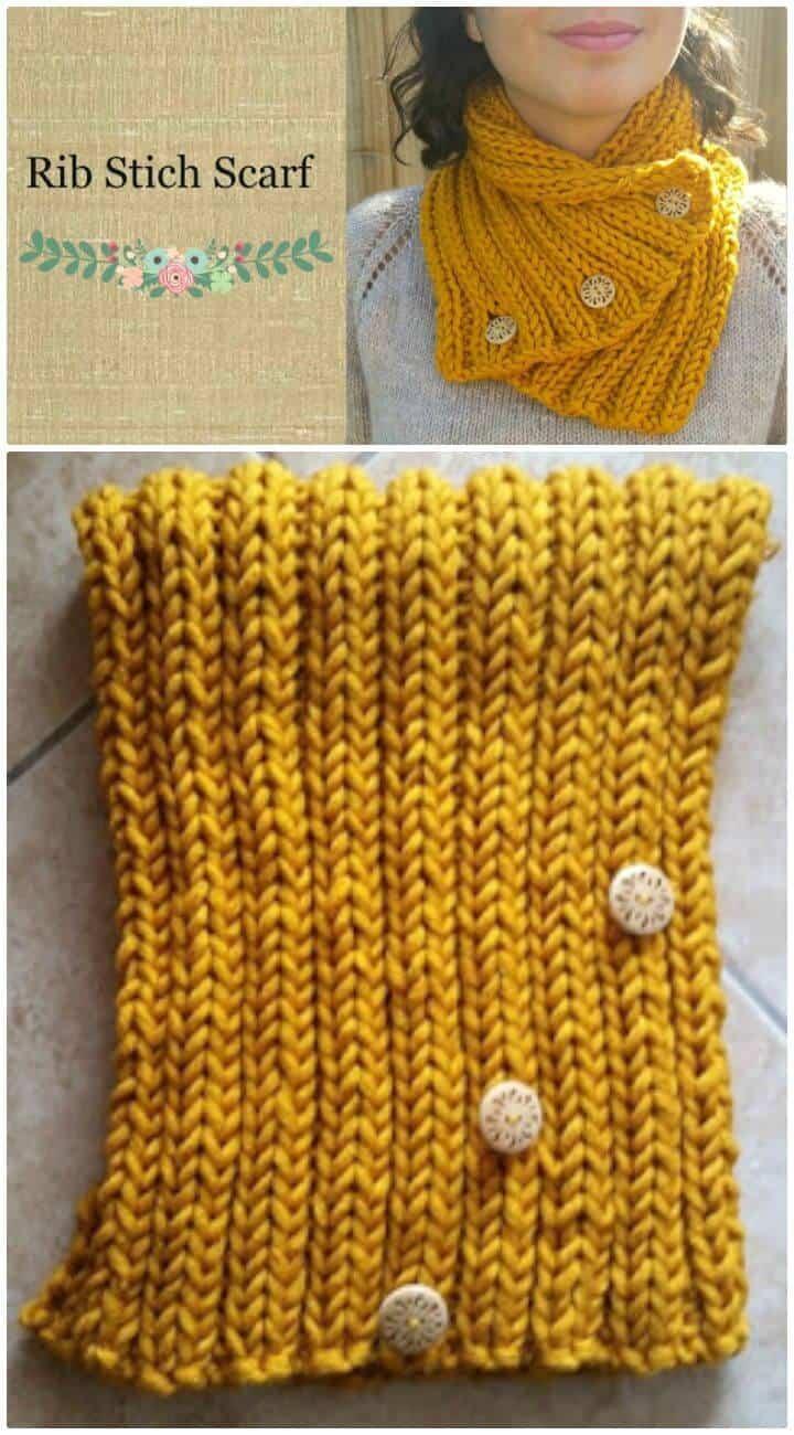 Patrón de bufanda de punto de canalé fácil de tejer gratis