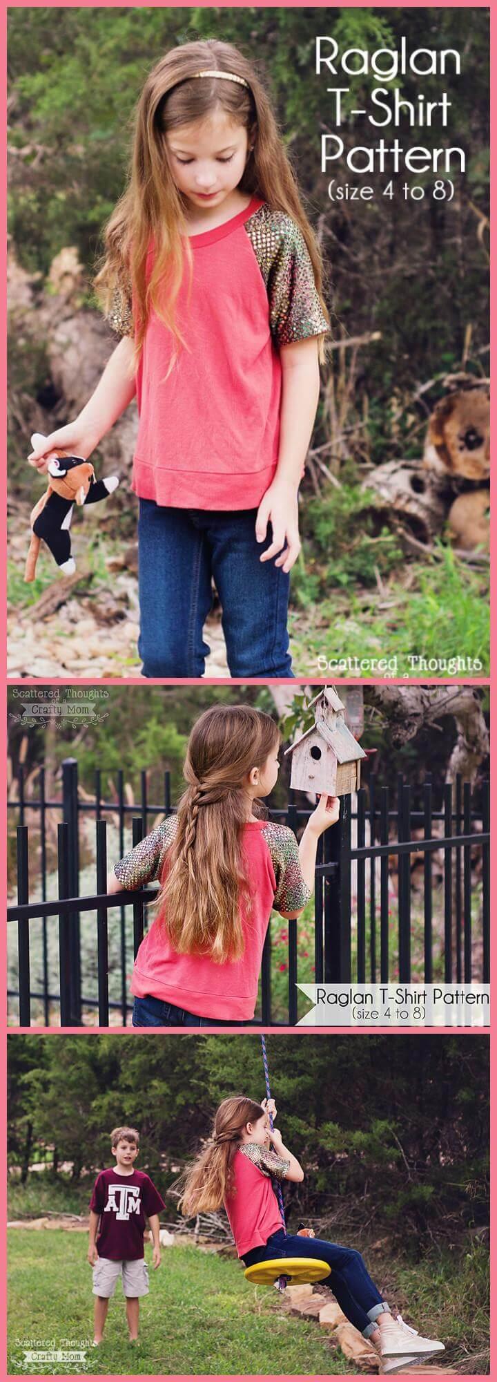 Tutorial y patrón gratuito de camiseta raglant de Easy Girls