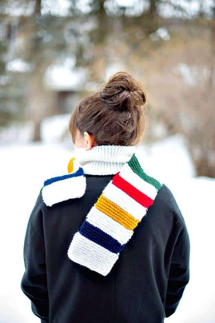 Easy Free Knit Un patrón de bufanda inspirado en la Bahía de Hudson