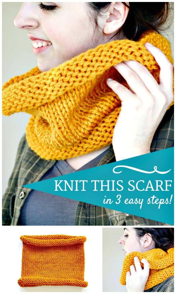 Tejer gratis una bufanda infinita en patrón de 3 pasos