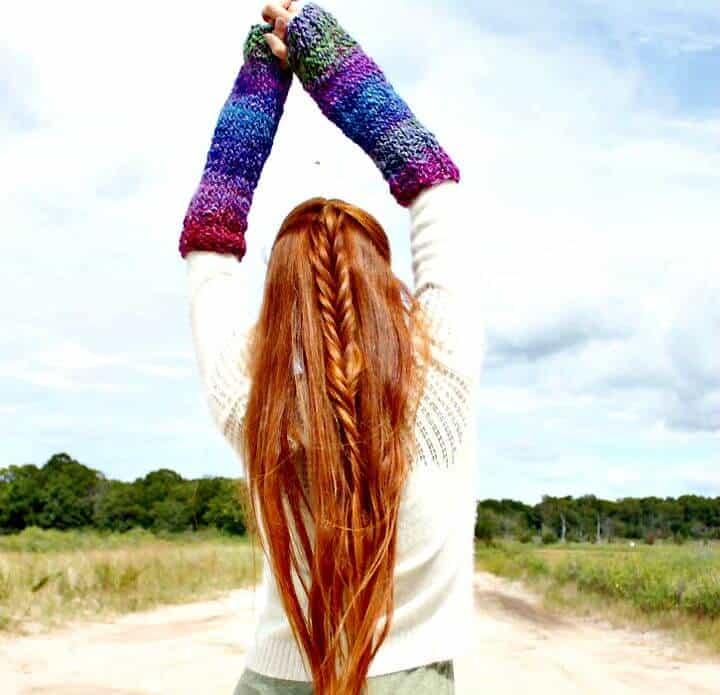 Patrón de calentadores de brazos acanalados Easy Knit