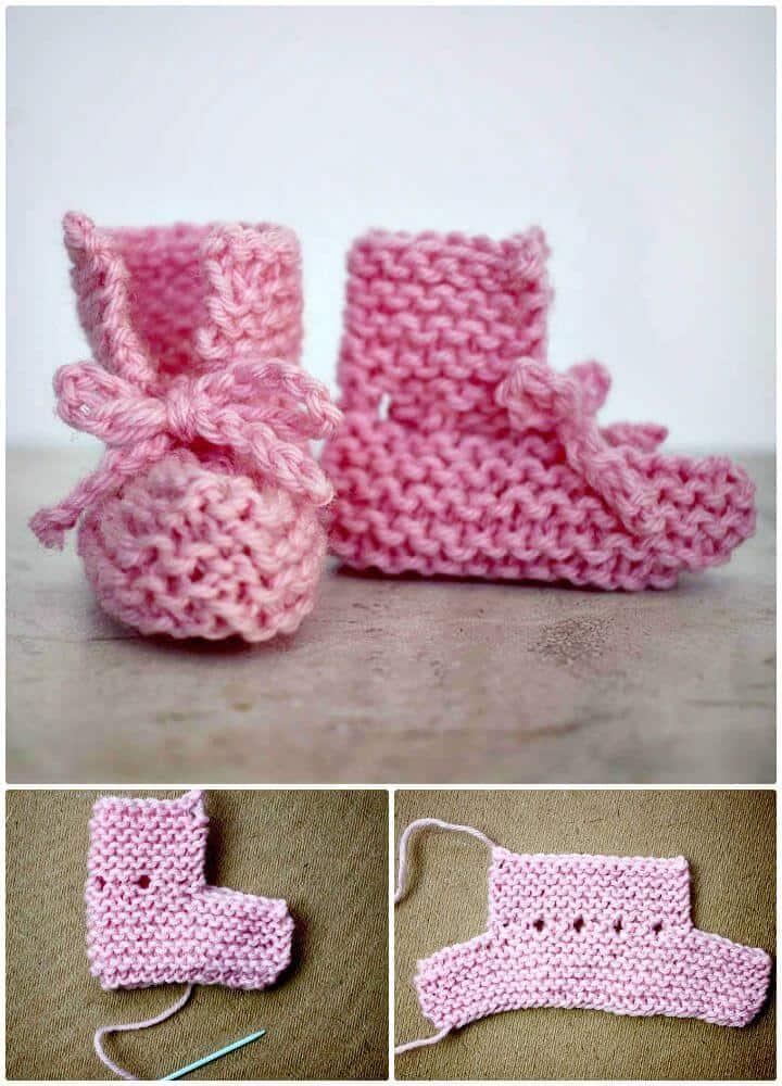 Botines de bebé Easy Knit con lazo en la parte delantera - Patrón libre