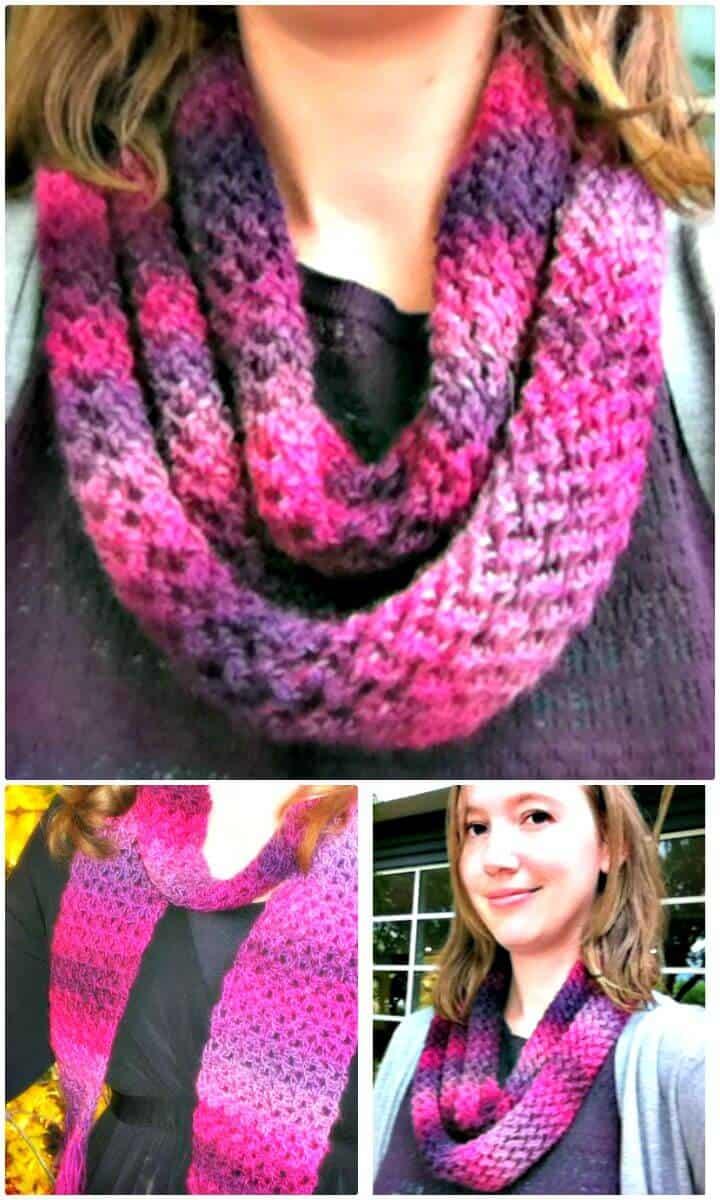 Patrón de bufanda de una madeja inolvidable de tejido fácil