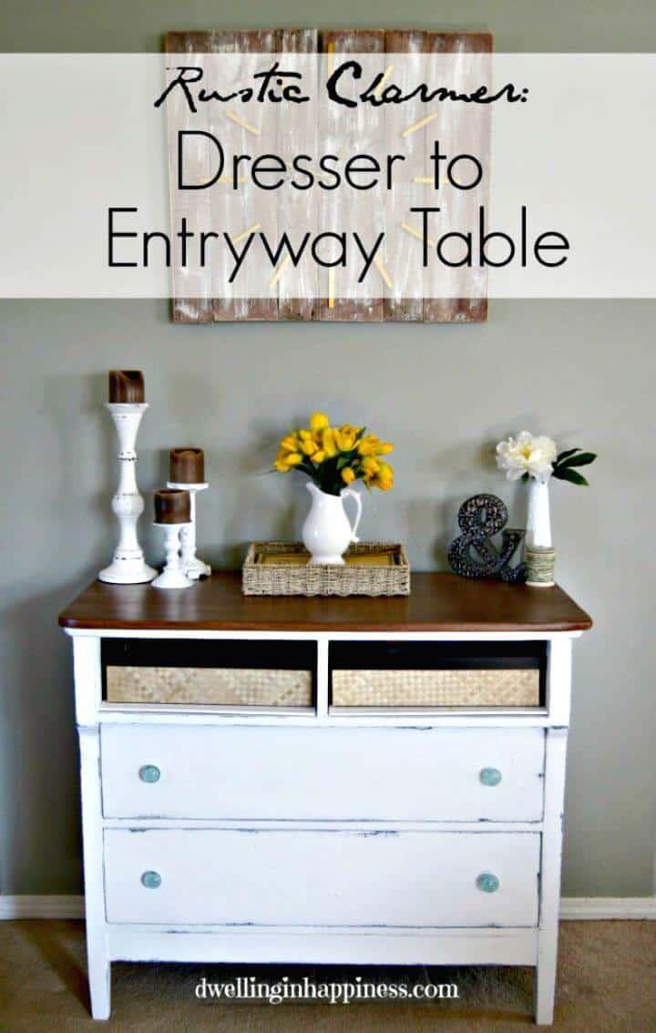 Tutorial de cómo convertir la cómoda en una mesa de entrada