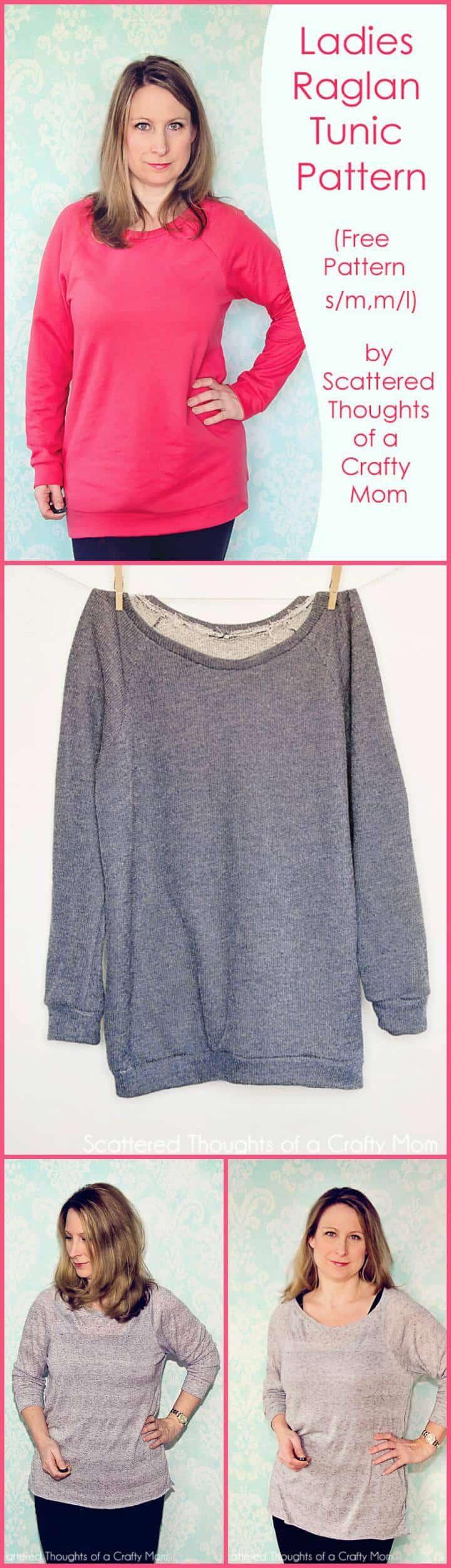 patrón y tutorial de túnica raglán para mujer