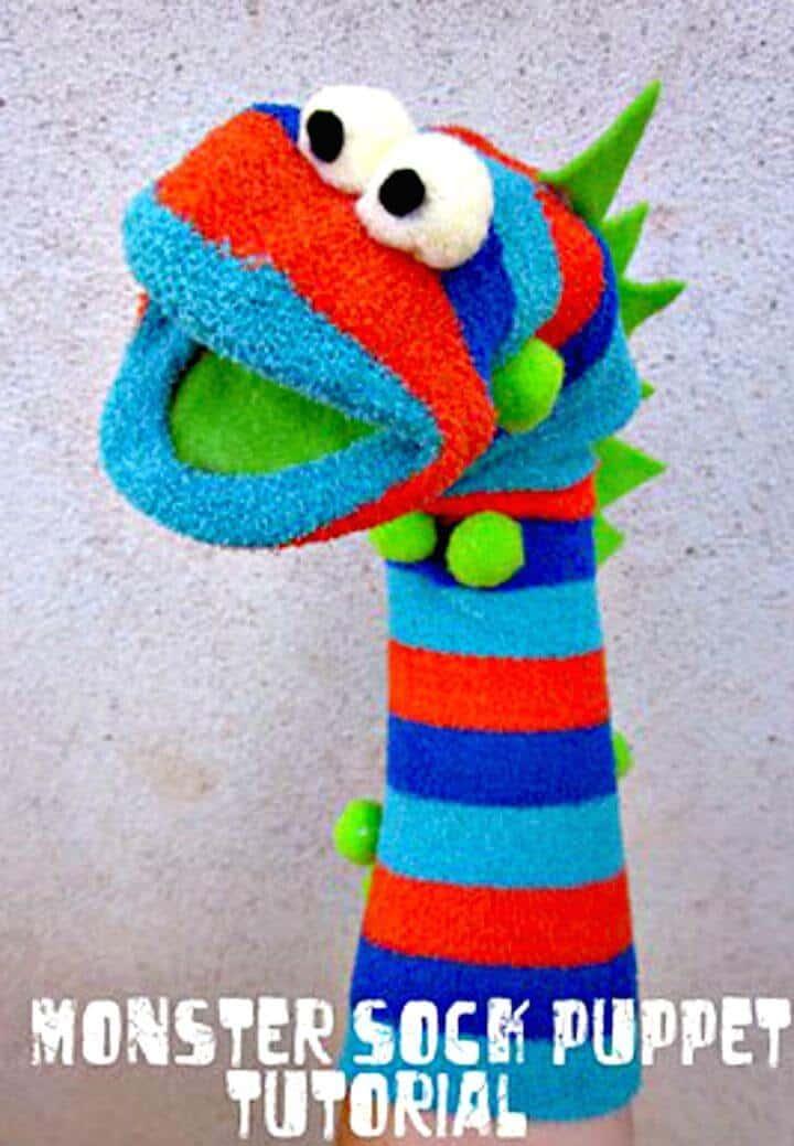 Marioneta de calcetín de monstruo fácil de crear: bricolaje para niños