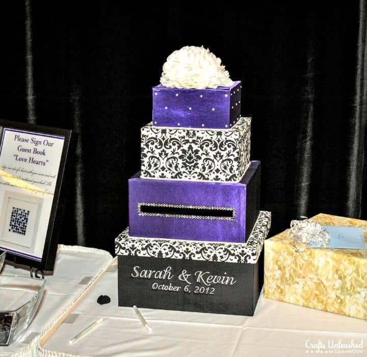 Caja de tarjetas de boda cubierta de tela de nivel fácil de bricolaje