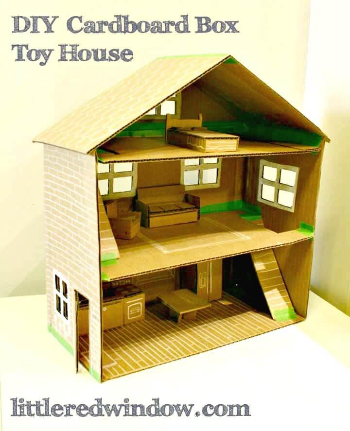 Casa de juguete con caja de cartón fácil de hacer: bricolaje para que jueguen los niños