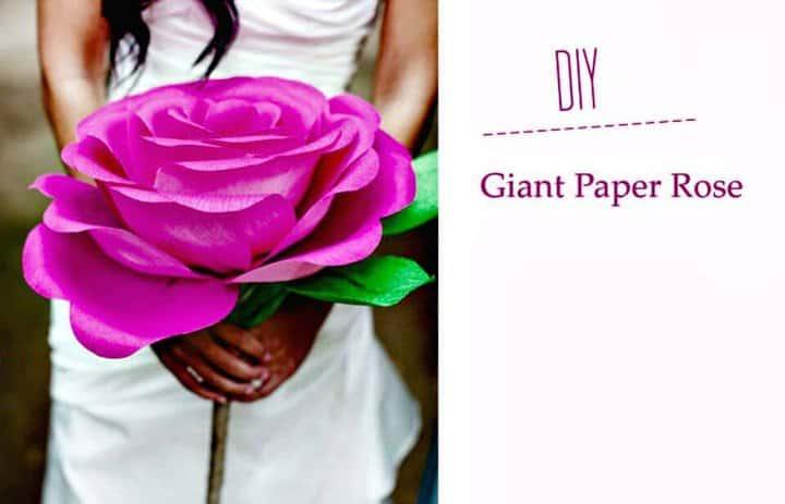 Flor rosa de papel gigante fácil de hacer