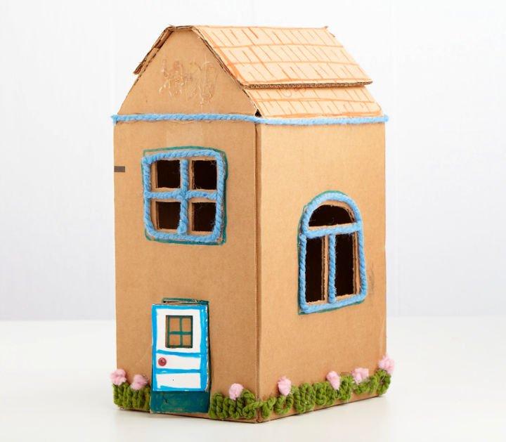Casa de caja de cartón fácil de hacer
