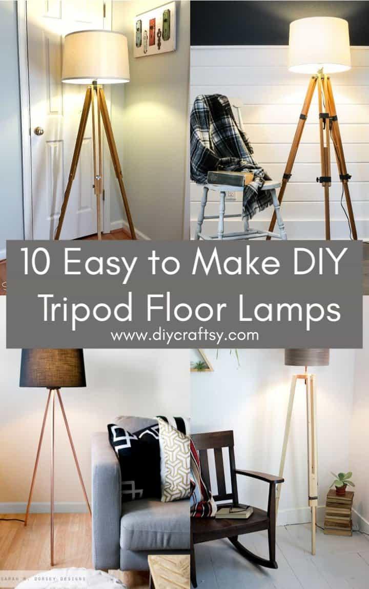 Lámparas de pie trípode fáciles de hacer