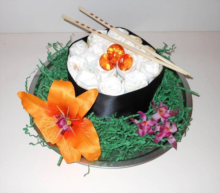 hermoso sushi de pastel de pañales