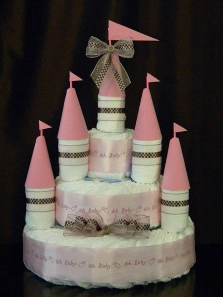increíble pastel de pañales del castillo