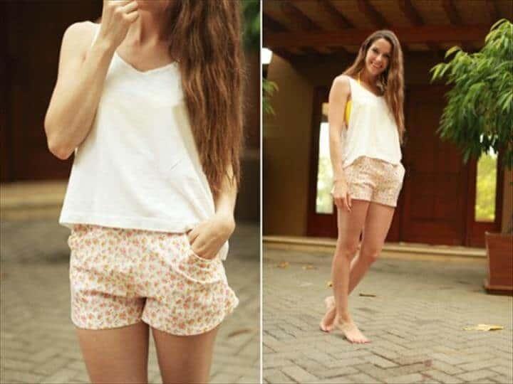 pantalones cortos florales casuales DIY