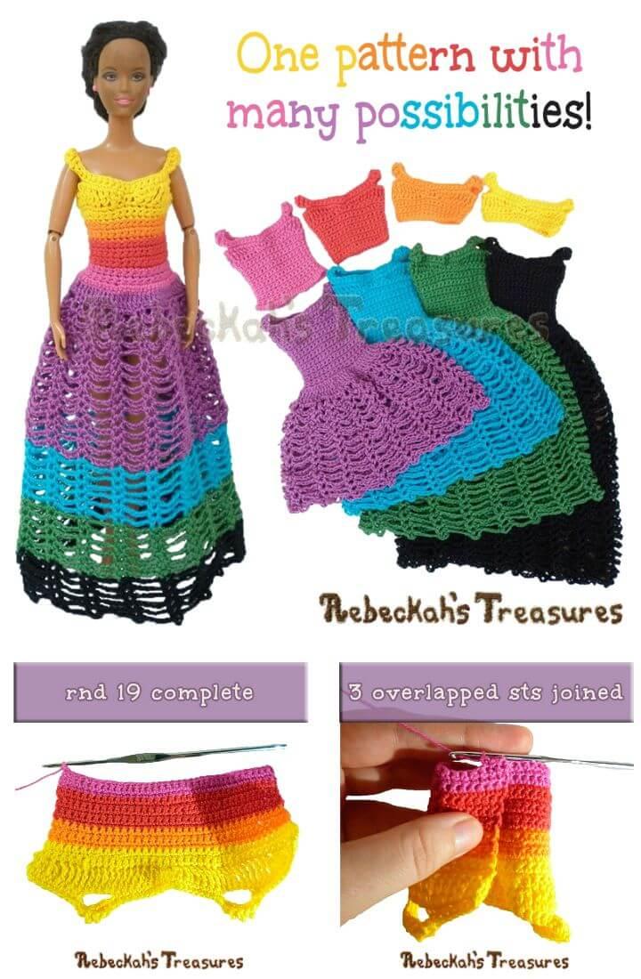 Patrón de sujetadores de muñecas de moda 8 en 1 de ganchillo gratis a vestidos