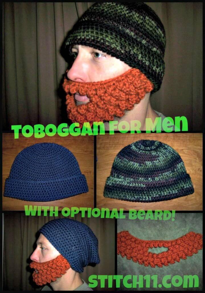 Crochet gratis fácil un tobbogan para hombres con patrón de barba opcional