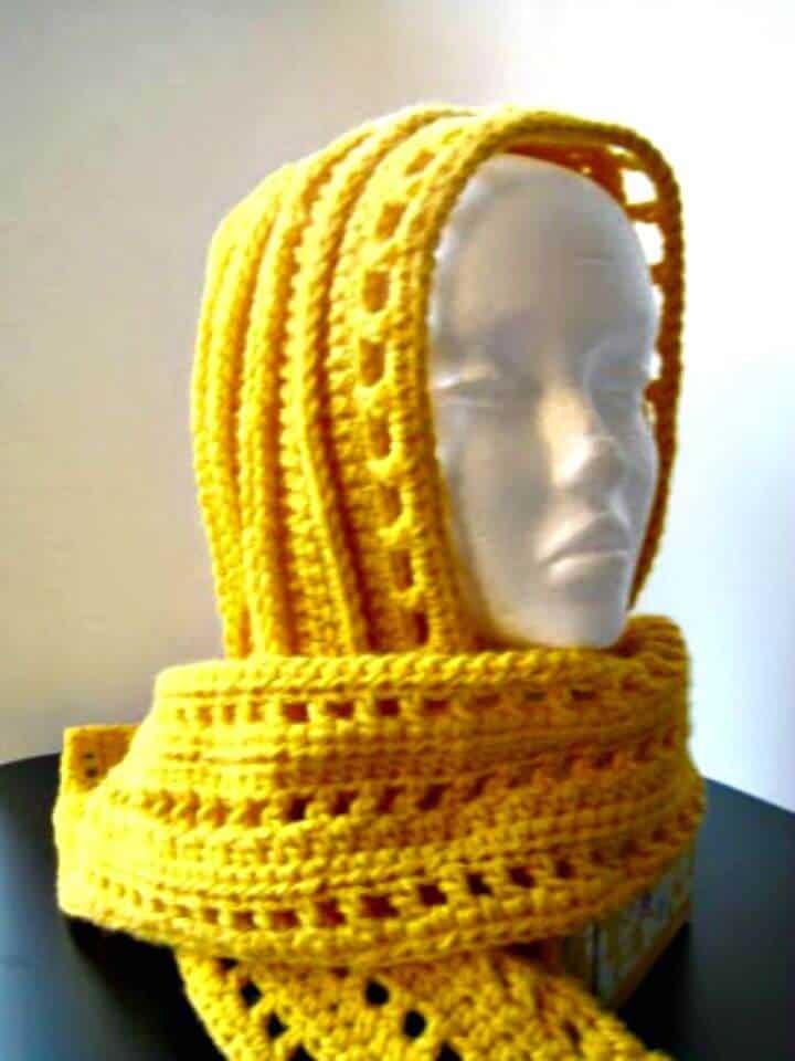 Patrón de bufanda con capucha estética de ganchillo gratis