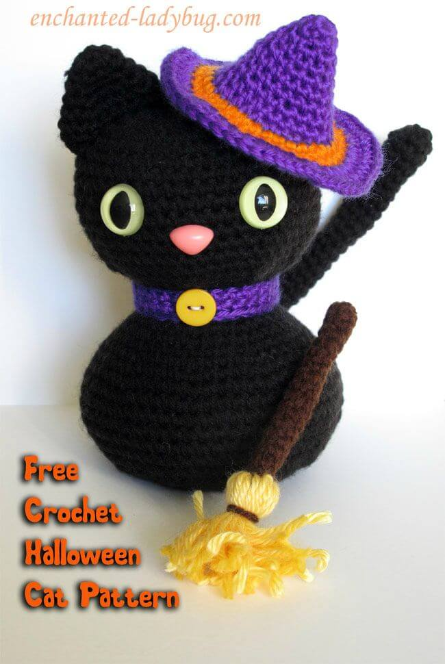 Patrón de gato negro de Halloween Amigurumi de ganchillo gratis fácil