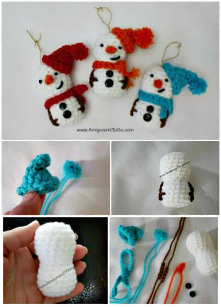 Patrón de adorno de muñeco de nieve amigurumi de ganchillo gratis