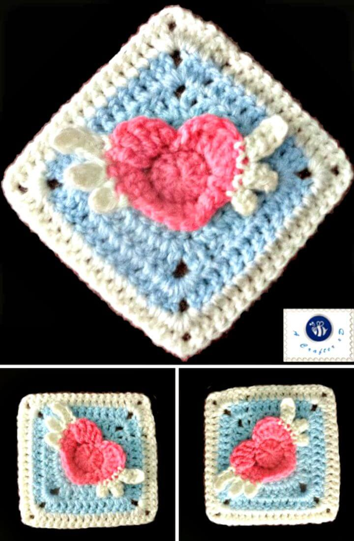 Crochet Angel Heart Granny Square - Patrón libre
