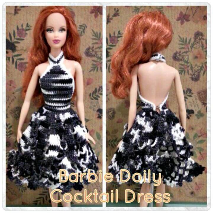 Cómo liberar el patrón de vestido de cóctel de Barbie tapete de ganchillo