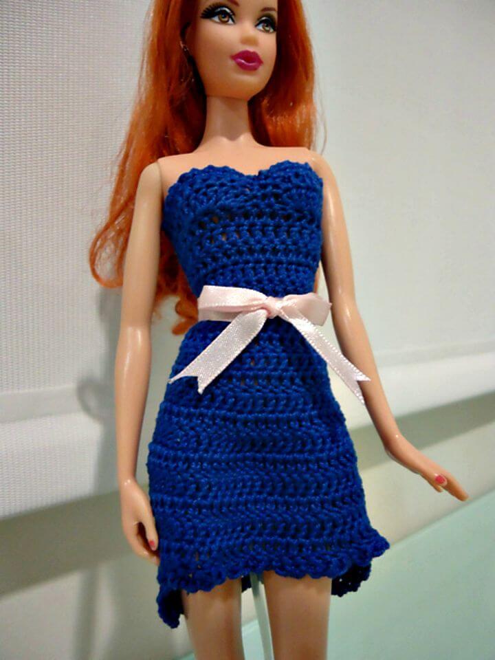 Vestido de cóctel de crochet fácil Barbie High Low - Patrón gratuito